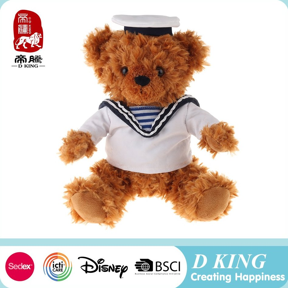 2016 new design patch teddy bear 100% polyester plush stuffed toy