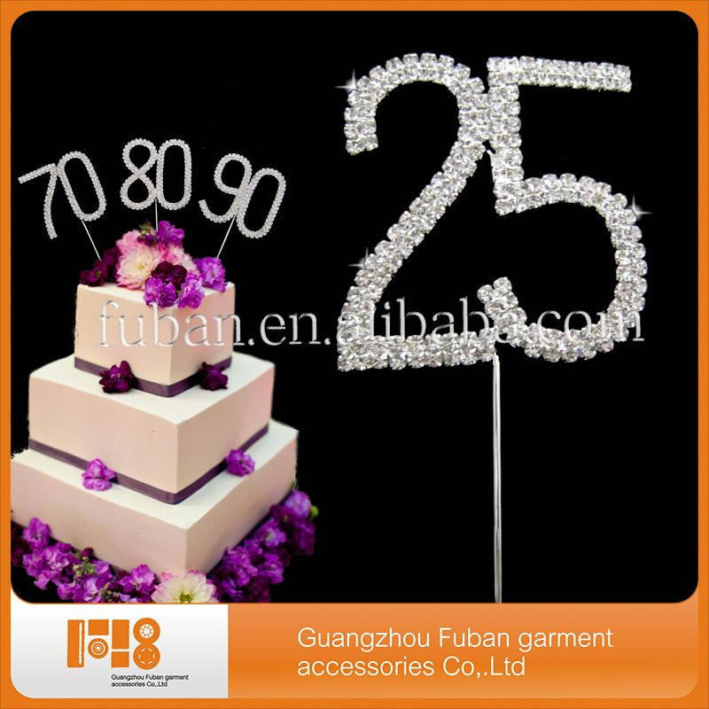 new products number diamante cake topper for wedding decoration/party supply/birthday gift