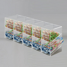 10 Compartments Custom Large Slant Clear Acrylic Candy Food Storage Box