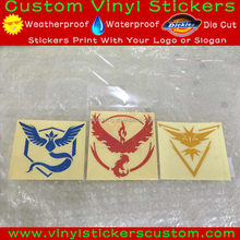 Wholesale 5inches 10 sets/Reflective Pokemon Go Three Team Set Decal Stickers with Transfer Film Visible in Night