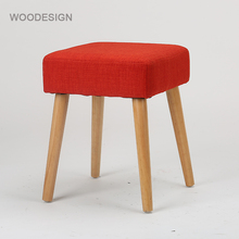 New design dressing room stool living room furniture square ottoman pouf wood leg red fabric Upholstered wooden footstool