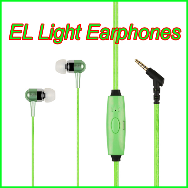 Wholesale light shinning headphone EL Light wire glowing earphone
