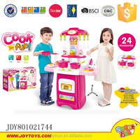 Electronic kitchen toy play set kitchen cabinet toys dining table kitchen tool with sound light