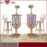 Bar furniture round shape carven stainless steel high led bar table