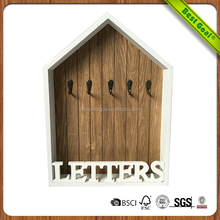 Wooden white letter wall decor hooks