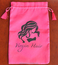 Low MOQ 300 Customized Satin Drawstring Hair Extensions Packaging Bag With Tassels