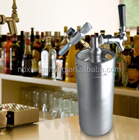 Stainless steel 128 ounce beer keg with tapping system