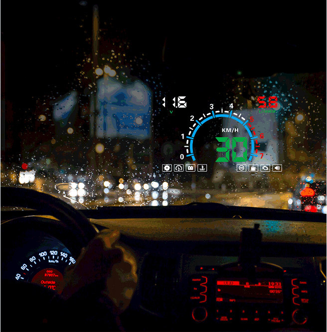 "5.8"" Size Multi Colors E350 OBDII Automotive Diagnostics With Various Alarms Car HUD Head Speed Up LED Display"