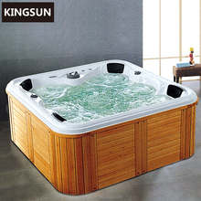 wood swimming pool, portable bubble bath, hot tub shell with LED light