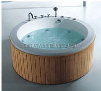 Small freestanding mini round shape wooden bathtub Item No. SMT014