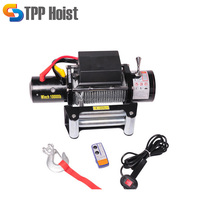 High Quality Black 13000Lbs Auto Electric Winch 12V DC/24V DC
