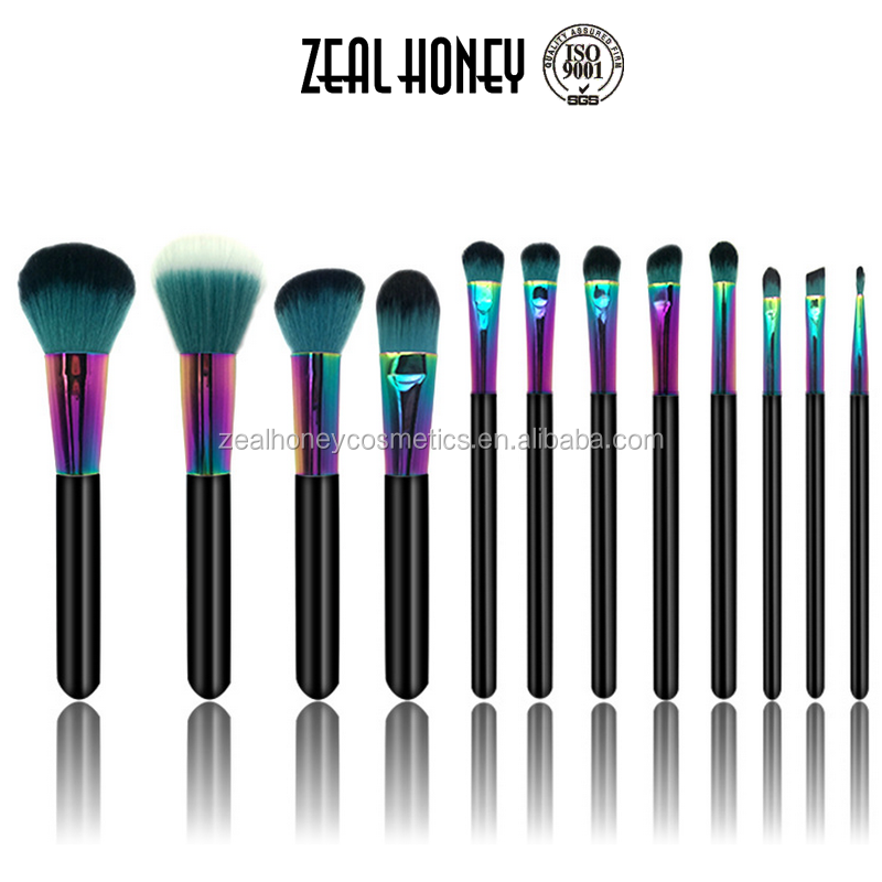 12pcs wholesale new professional cosmetic brush high quality rainbow color makeup brush set stamp printing foundation brush