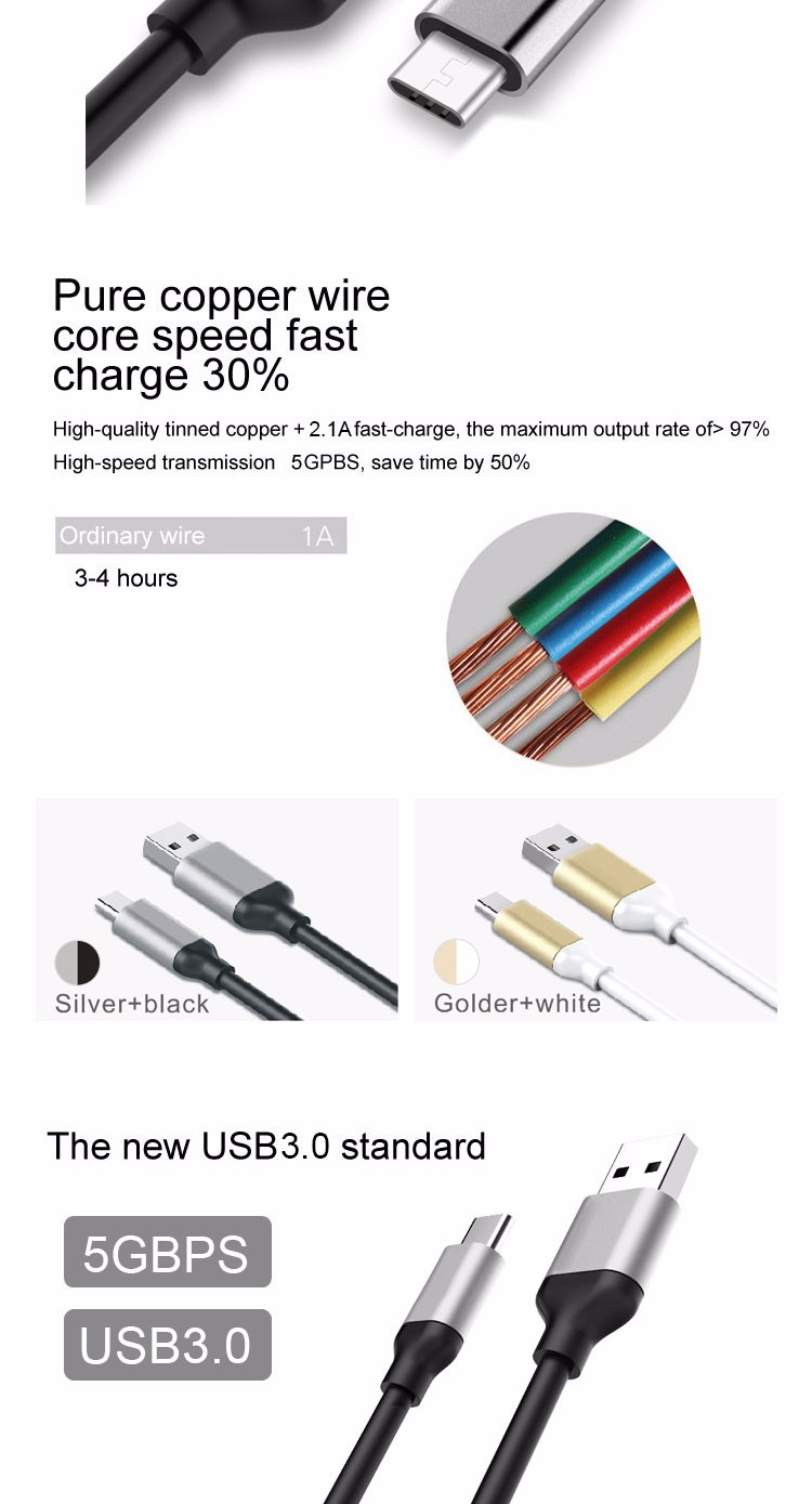 Wholesale Promotions Gift Aluminum Metal TPE 5V 2.1A Quick Data Sync Charging Data Usb 3.0 Type-c Cable For Mobile Smartphone