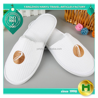 Walf Checks Hotel Slippers / Washable Waffle Pattern EVA Bathroom Slippers / OEM ODM Grid Cloth Terry Towel Home Salon Slippers