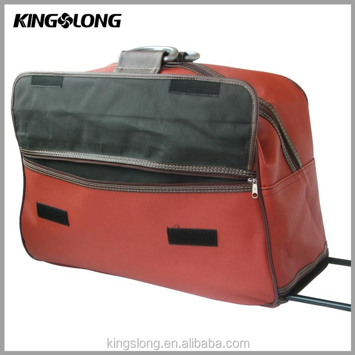 Red color cheap shopping trolley hand bag with 2 wheels