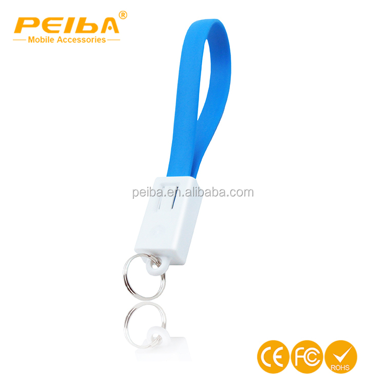 Promotional gift 20 cm Data Transfer keychain Micro USB Cable 2 in 1 Key Ring flat Fast USB Charging for mobile phone
