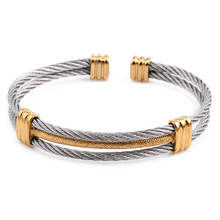 Titanium Steel Magnet Bangle Bracelet,Men Women Stainless Steel Twisted Cable Adjustable Cuff Bangle Bracelet