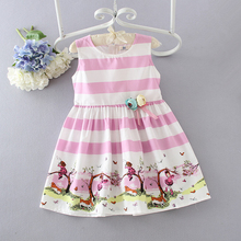 2017 latest model summer beauty girls stripe pink cartoon dress children party dress