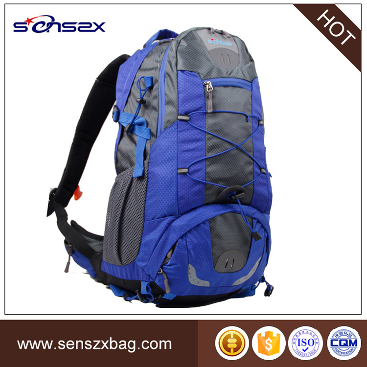 Hot selling hiking backpack rubber bottom backpack vertical backpack