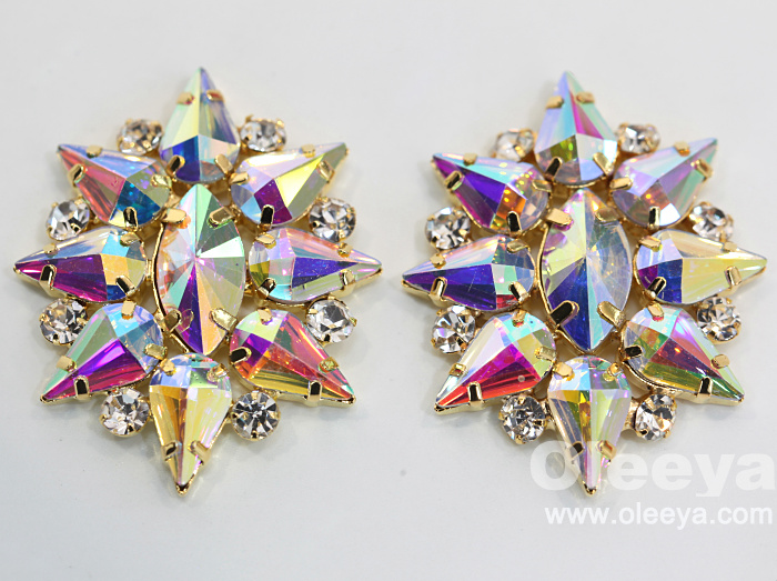 New Arrival flatback crystal appliques 15*5cm crystal sew on rhinestone appliques for readymade garment