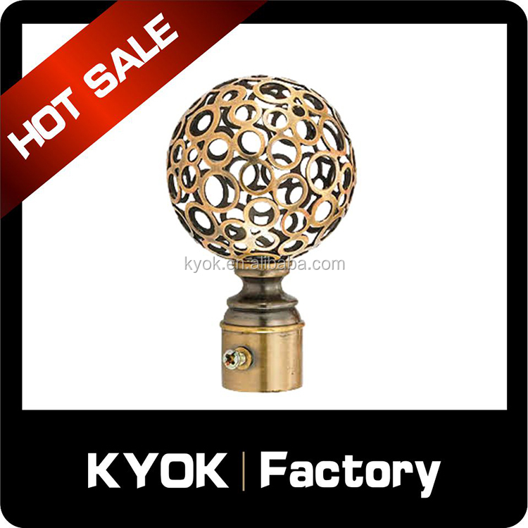 KYOK Hot sell antique brass curtain rod finial,home decorations drapery hardware,curtain pole accessories