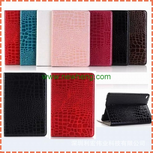 Luxury Crocodile eco-friendly leather Case for iPad Air 2, pu leather stand case for ipad 6