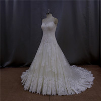 Sweep train tiered fishtail gown light blue and white gown wedding dress