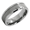8MM Men's Tungsten Ring Wedding Band Carbon Fiber Inlay and Beveled Edges tungsten carbide ring