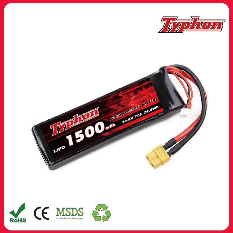 lipo 1500mah 4S 14.8V 75C Drone Battery high rate with small size