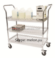 3 Layer Wire Basket Shelving Cart with Double Handle