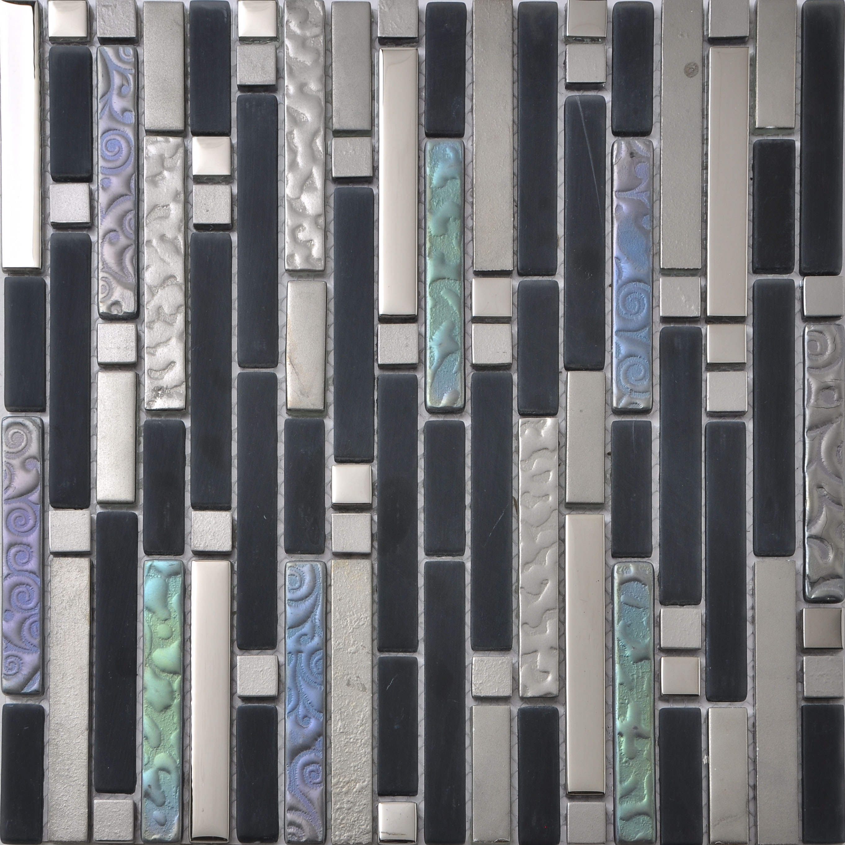 Stainless Steel Mosaic Tiles Mix Glass 3D Metal Mosaic Tile