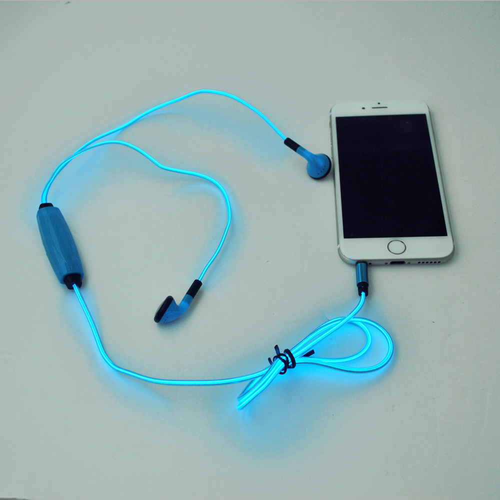 EL light Earbuds and LED earphone, golwing earphone with microphone
