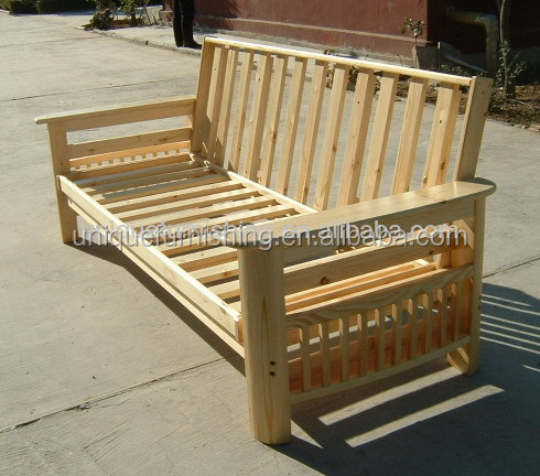 Solid wood futon frame sofa bed for living room furniture for Solid wood futon sofa bed
