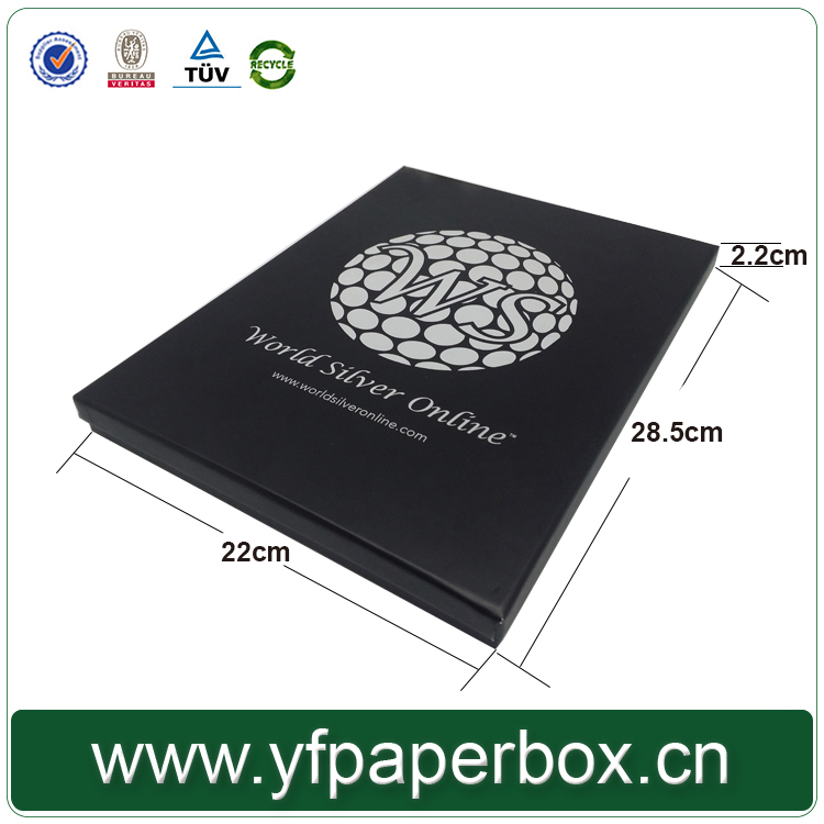 Luxury silver color stamping logo printed Black Gift box for scarf