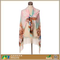 Soft lightweight long tree print womens silk chiffon scarf shawl wraps