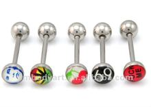 Surgical steel custom logo epoxy tongue barbell rings body piercing jewelry AMSD12081512