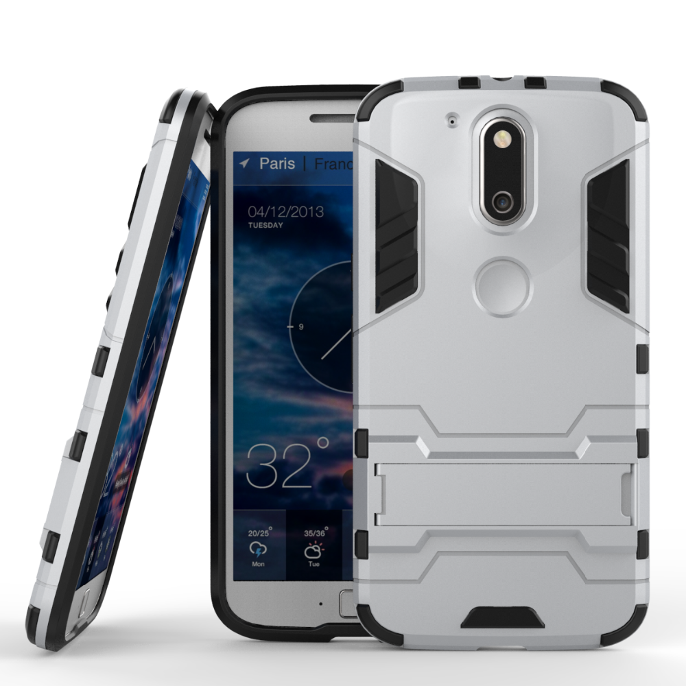 TPU+PC hybrid kickstand back cover case for moto g4 plus