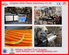 Electric cable through hose on line producing machine