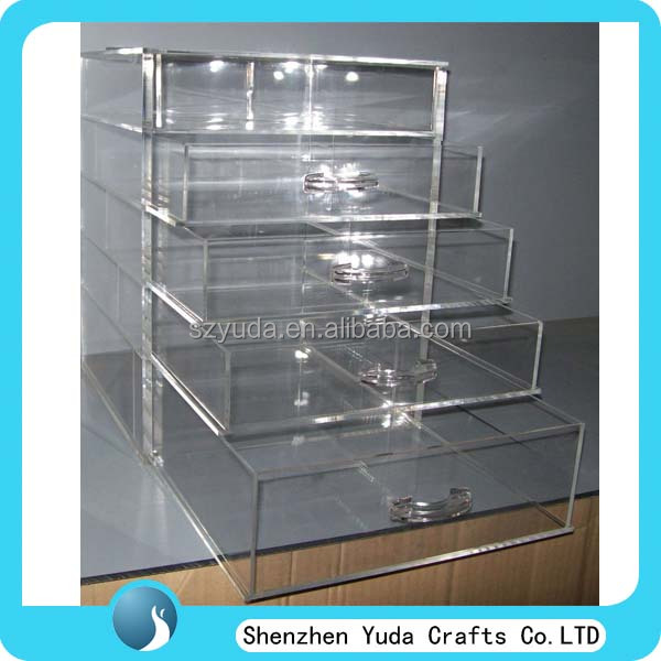 crazy selling lucite make up cosmetic showcase, acrylic 4 drawers custom made organizer manufacturer