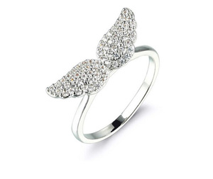 Fashion 925 Silver Paving Zircon Angel Wing Women Wedding Ring Jewelry