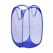 LA027 white Mesh hamper Pop-up laundry basket mesh folding wire laundry basket