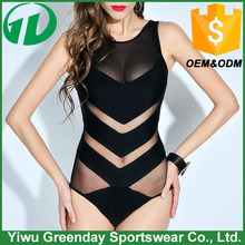 2016 hot open sexy girl full transparent high neck hollow mesh one piece swimsuit for women