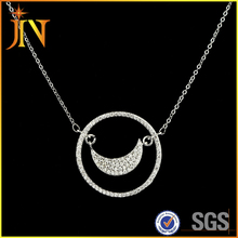 EN0321 JN Newest Luxury Space series White CZ shining zircon moon Pendant Circle Necklace Party Wedding Jewelry