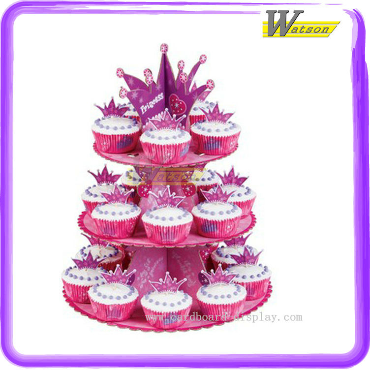 Cardboard Fashionable Cupcake Holder with 3 Tiers Applicable to Party Cupcakes