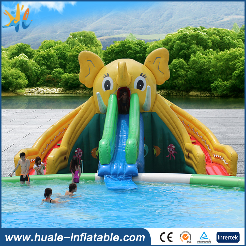 Attractive elephant cartoon design inflatable water slides wholesale