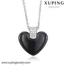 00157 Xuping stainless steel heart accessories pendant necklace, silver color plated delicate chain fashion costume jewellery