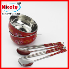 Joyful metal chinese soup bowl and spoon set