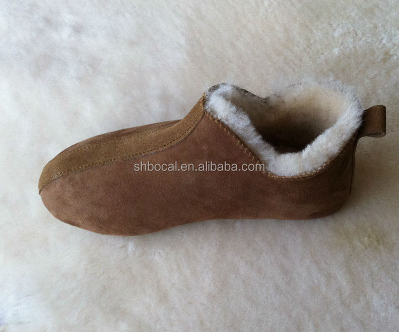 sheepskin casual shoes with rub antislip