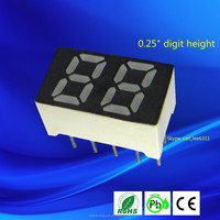Ultra blue small led 0.25 inch 2 digit mini led 7 segment display 0.25""