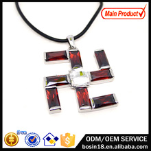 Popular Buddhist symbol WAN Crystal Necklace in Leather chain, jewlery Floating Crystal necklace wholesale #19663